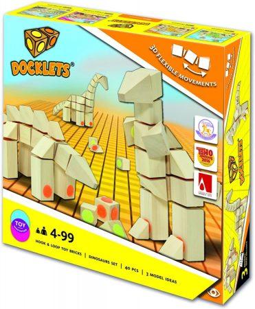 Docklets -  Tépőzáras fa építőkockák (dinoszaurusz szett)