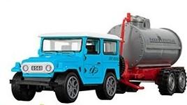 Kék terepjáró tartálykocsival