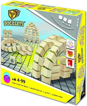 Docklets -  Tépőzáras fa építőkockák (építészet szett)
