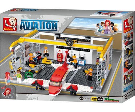 Sluban Aviation - Repülőgép hangár építőjáték készlet