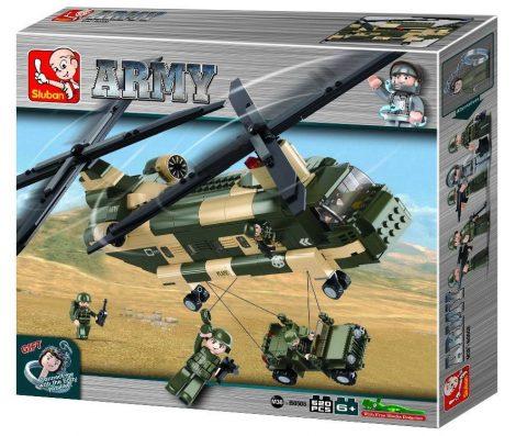 Sluban Army - CH–47 Chinook katonai szállító helikopter építőjáték készlet