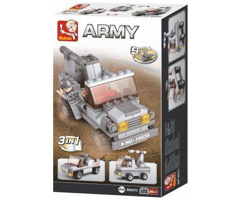 Sluban Army – 3 az 1-ben katonai terepjáró rakétavetővel építőjáték készlet