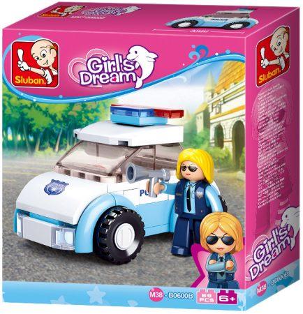 Sluban Girl's Dream - Rendőrnő járőrkocsival építőjáték készlet