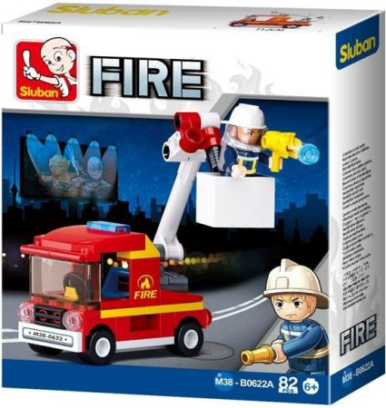 Sluban Fire – Kis emelőkosaras tűzoltóautó építőjáték készlet