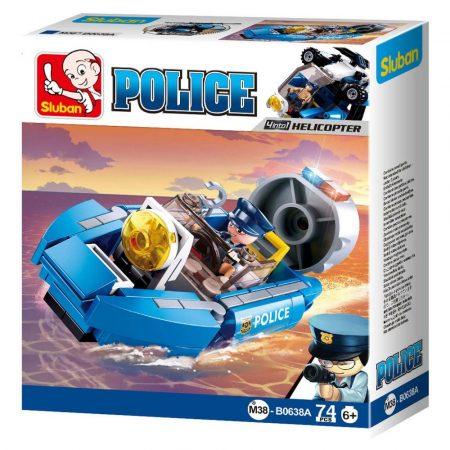 Sluban Police - 4 into 1 rendőrségi csónak építőjáték készlet