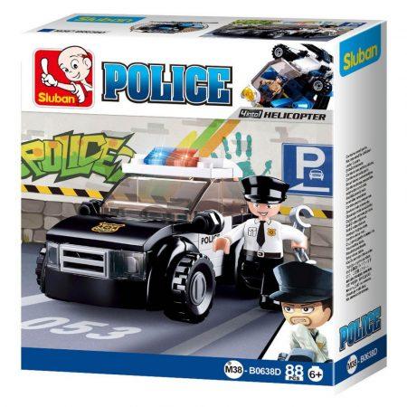 Sluban Police - 4 into 1 rendőrségi járőrautó építőjáték készlet