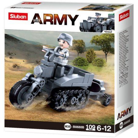 Sluban Army WWII - 4 into 1 német féllánctalpas motorkerékpár építőjáték készlet