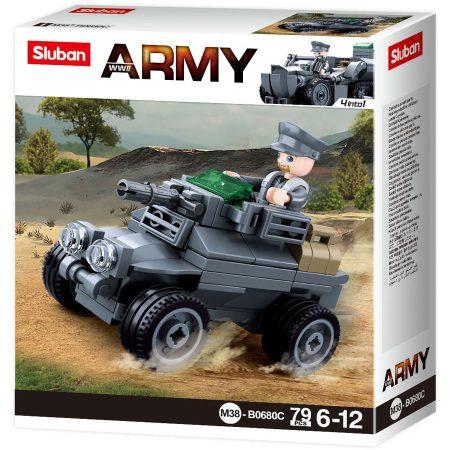 Sluban Army WWII - 4 into 1 német páncélozott autó építőjáték készlet