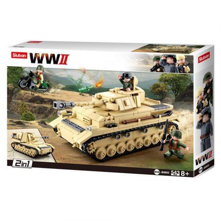 Sluban Army WWII - 2 in 1 német Panzer IV. tank építőjáték készlet