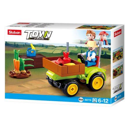 Sluban Town - Farm kis betakarító traktor építőjáték készlet