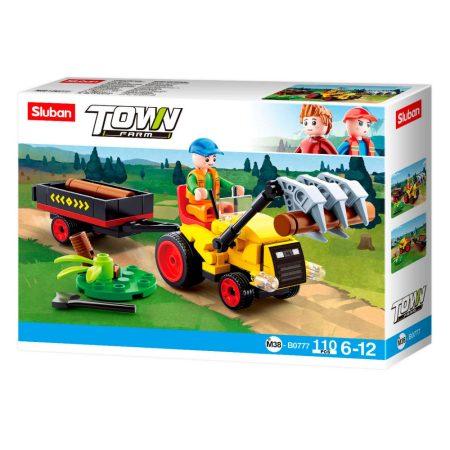 Sluban Town - Farm rönkszállító traktor építőjáték készlet