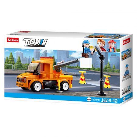 Sluban Town - City Cleaner emelőkosaras karbantartó teherautó építőjáték készlet