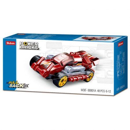 Sluban Power Bricks Pull Back - Fast Red felhúzható autó építőjáték készlet