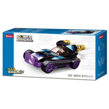 Sluban Power Bricks Pull Back - Purple Raptor felhúzható autó építőjáték készlet