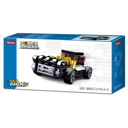 Sluban Power Bricks Pull Back - Fekete hot rod felhúzható autó építőjáték készlet