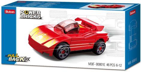 Sluban Power Bricks Pull Back - Red Furious felhúzható autó építőjáték készlet