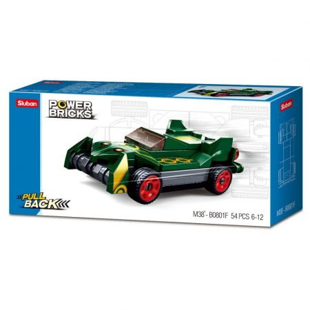 Sluban Power Bricks Pull Back - Drifting Green felhúzható autó építőjáték készlet