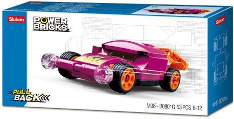 Sluban Power Bricks Pull Back - Purple Wing felhúzható autó építőjáték készlet