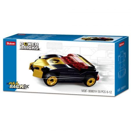 Sluban Power Bricks Pull Back - Gold Black Winner felhúzható autó építőjáték készlet