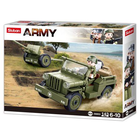 Sluban Army WWII - Willys Jeep löveggel építőjáték készlet