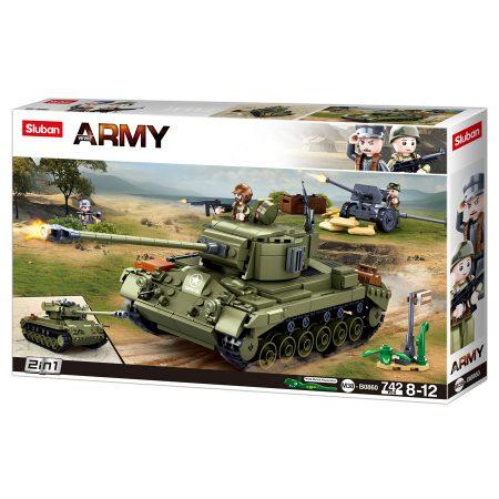 Sluban Army WWII - 2 az 1-ben M26 Pershing közepes harckocsi építőjáték készlet