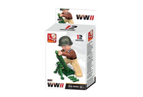 Sluban Minifigures WWII amerikai gránátvetős katona építőjáték figura