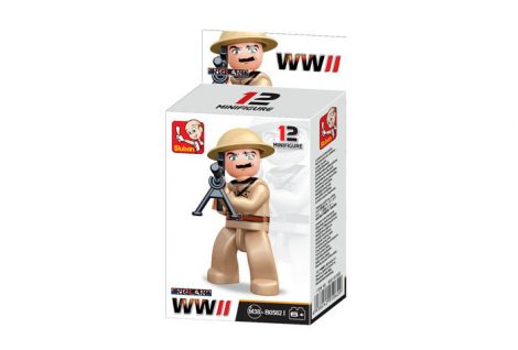 Sluban Minifigures WWII angol géppuskás katona építőjáték figura